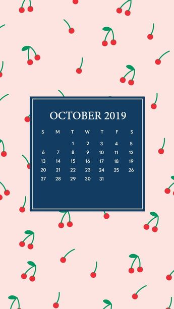Cute October 2019 iPhone Calendar Wallpaper