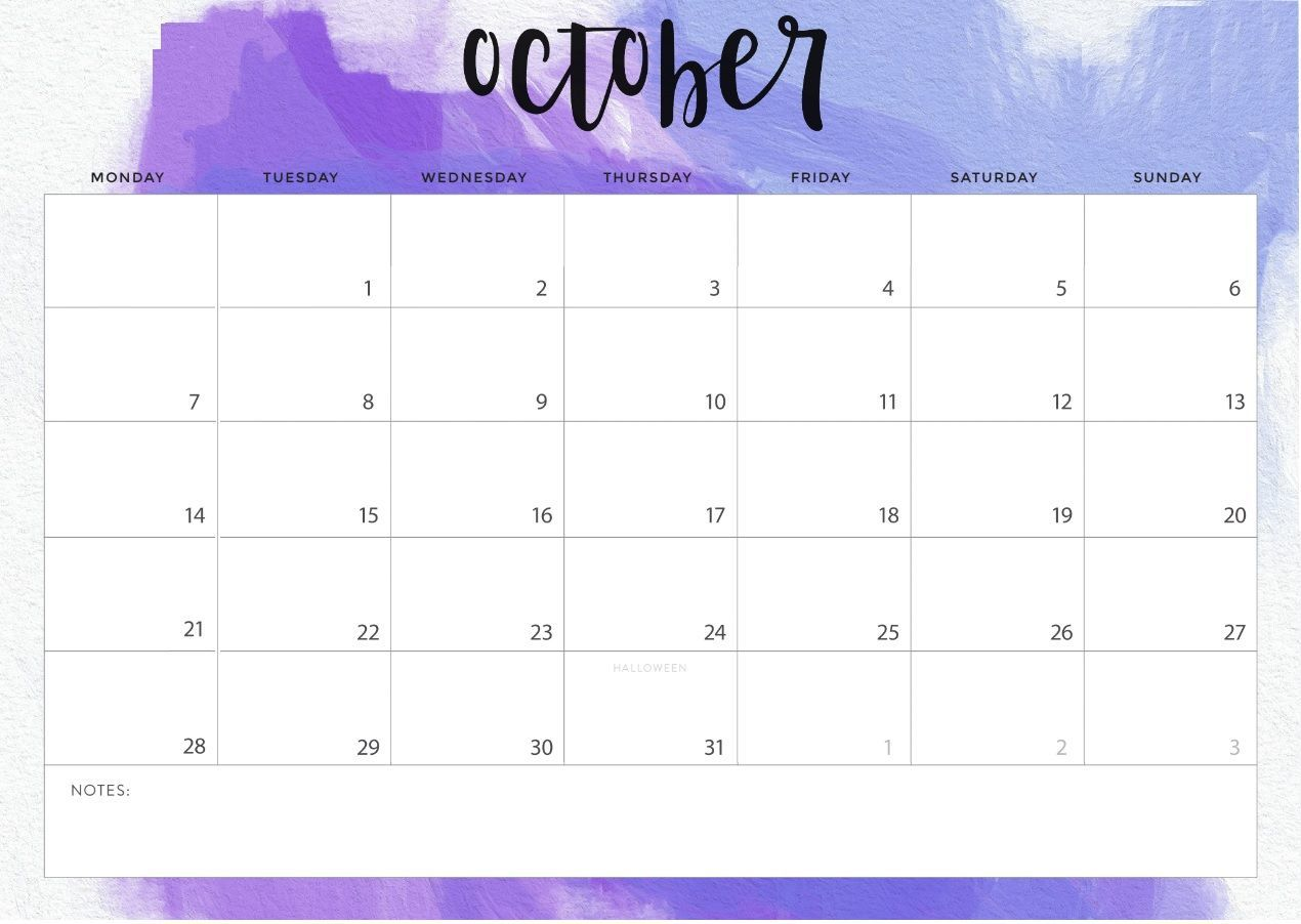 Desk Calendar For October 2019