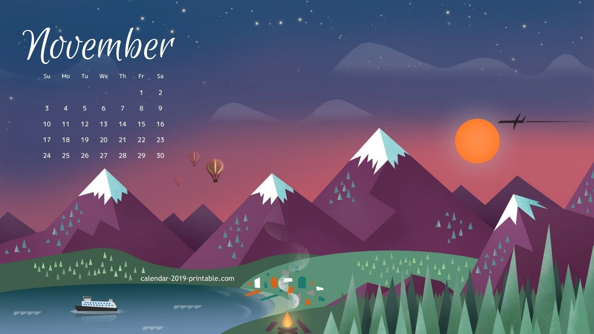 Desktop Calendar Wallpaper November 2019