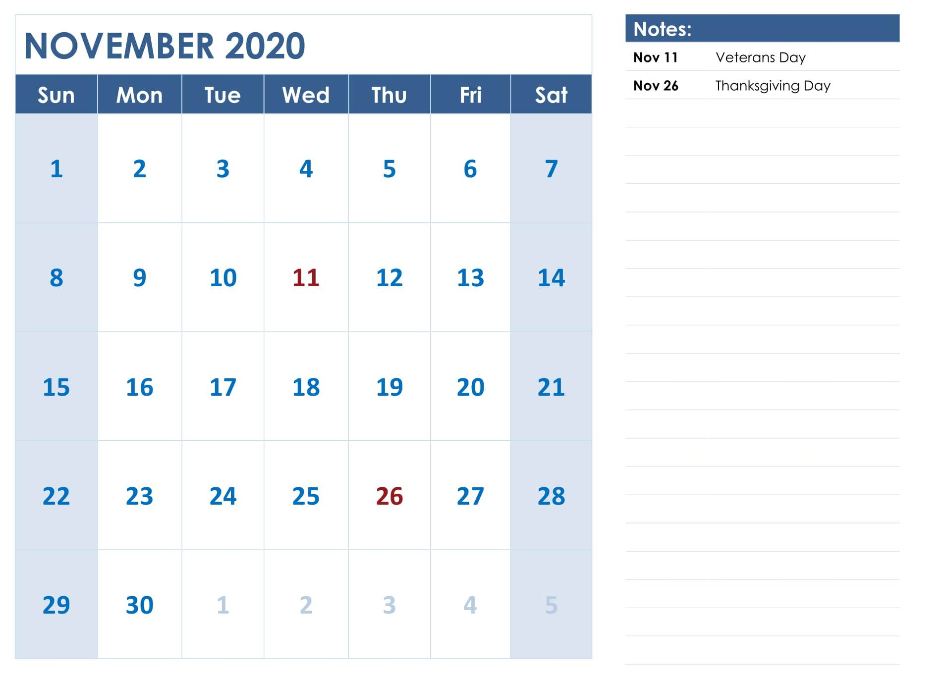 Editable November 2020 Calendar with Holidays