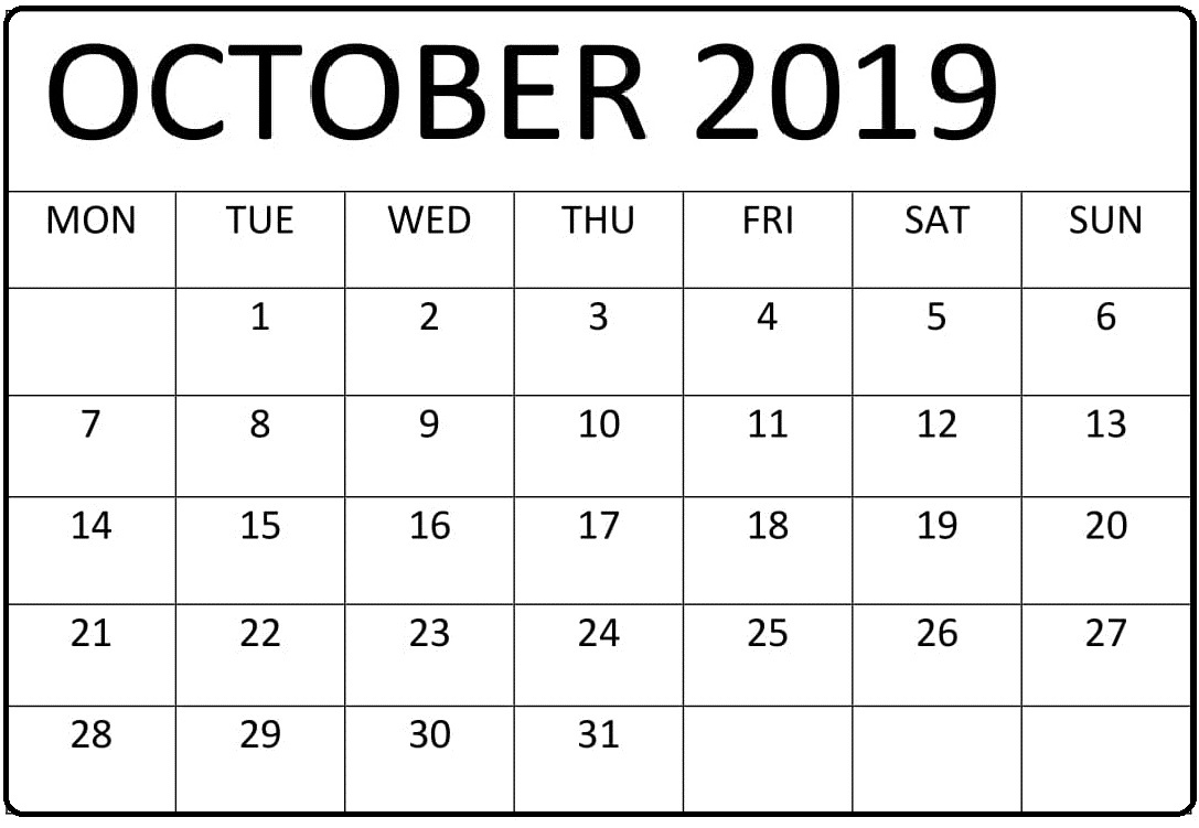 Editable Printable October 2019 Calendar Pages