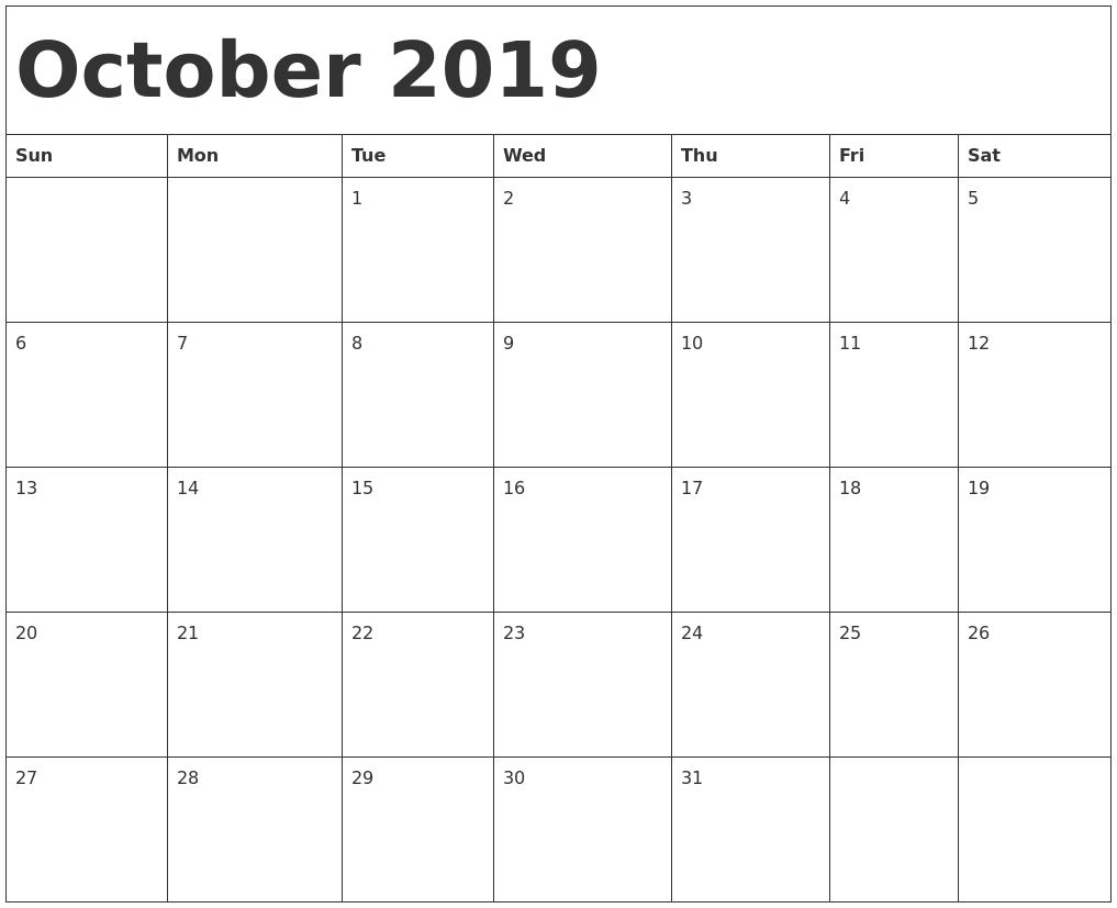 Free Printable October 2019 Calendar Template