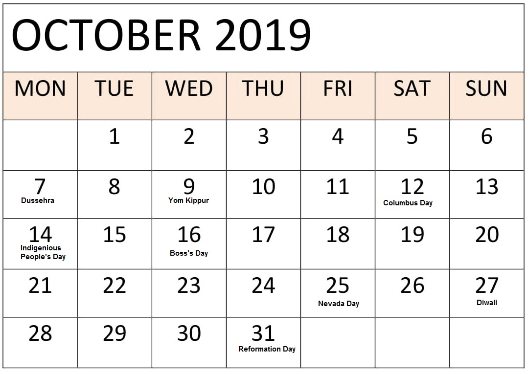 Holidays Calendar October 2019