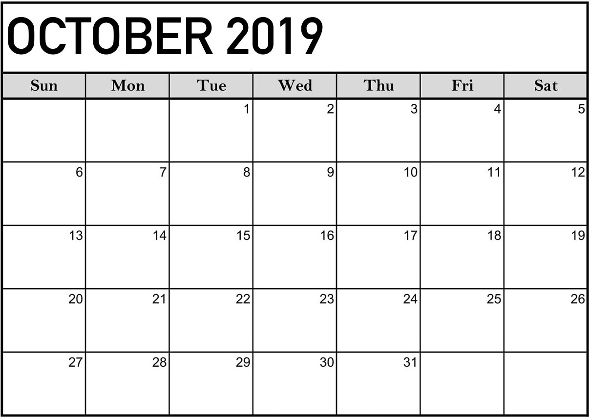 Monthly Calendar for October 2019