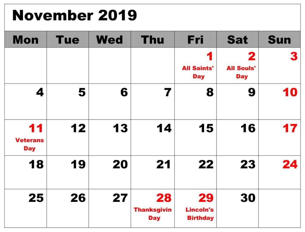 November 2019 Blank Calendar With Holidays