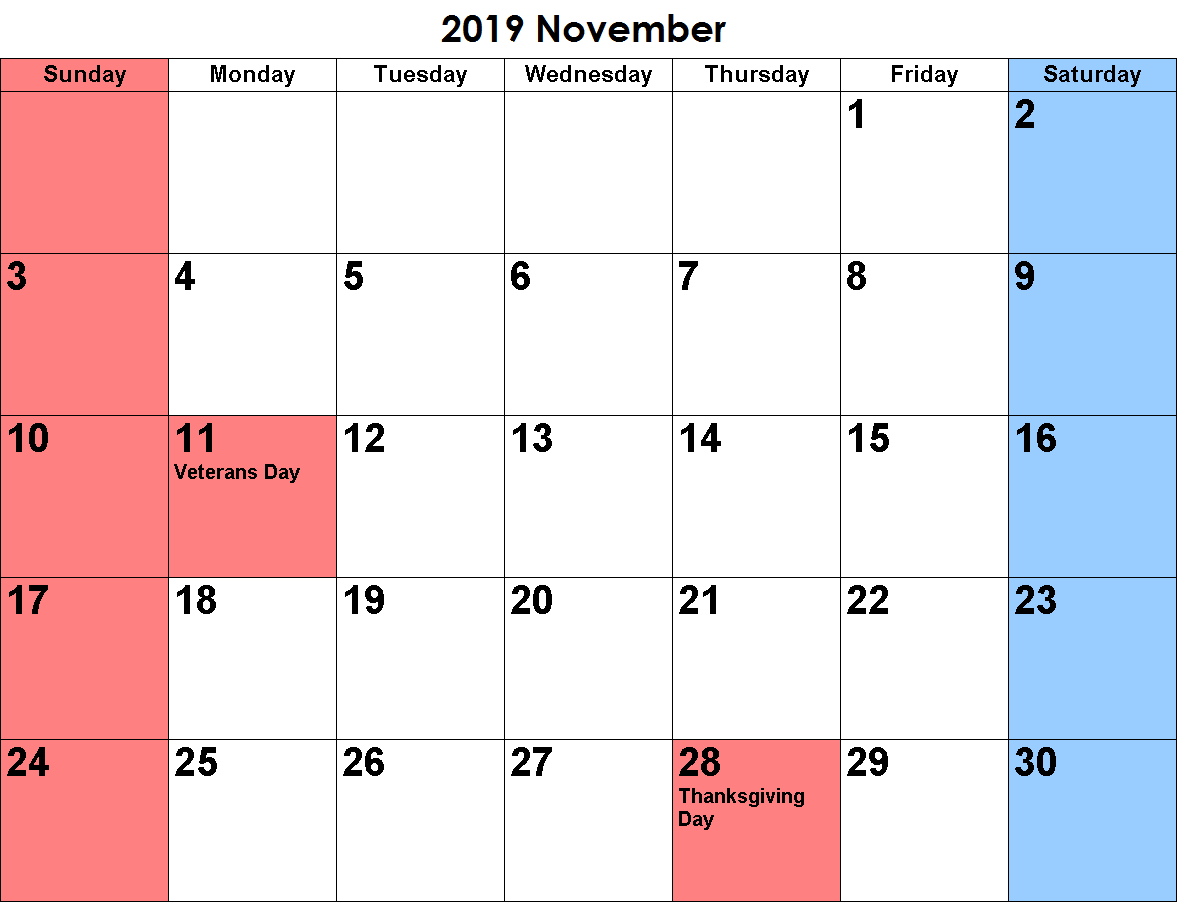 November 2019 Calendar With Holidays Notes