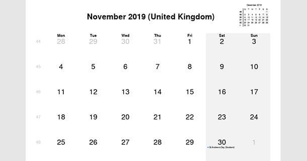 November 2019 Calendar with UK Holidays