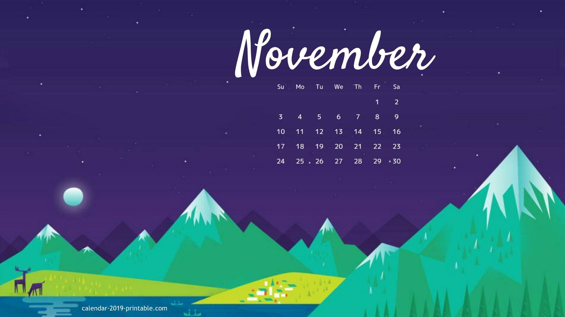 November 2019 Desktop Calendar Wallpaper