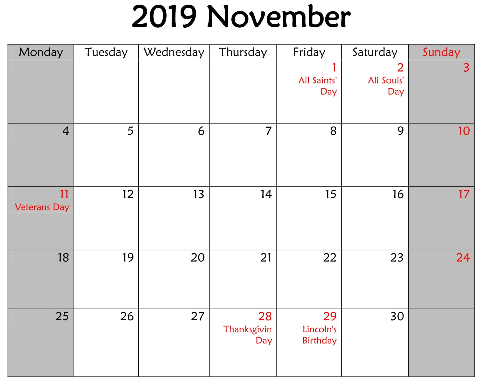 November 2019 Monthly Calendar with Holidays