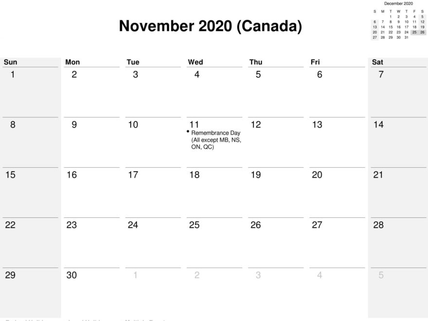 November 2020 Calendar With Holidays Canada