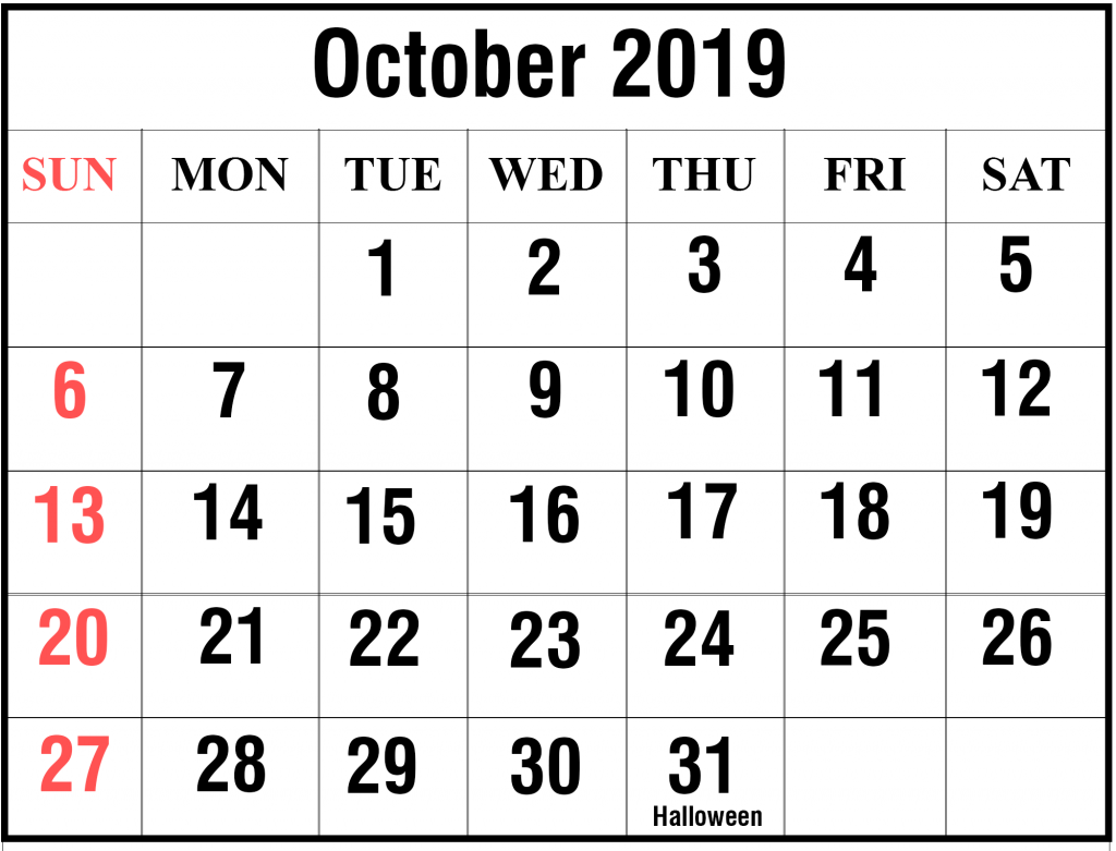 October 2019 Calendar Template Word