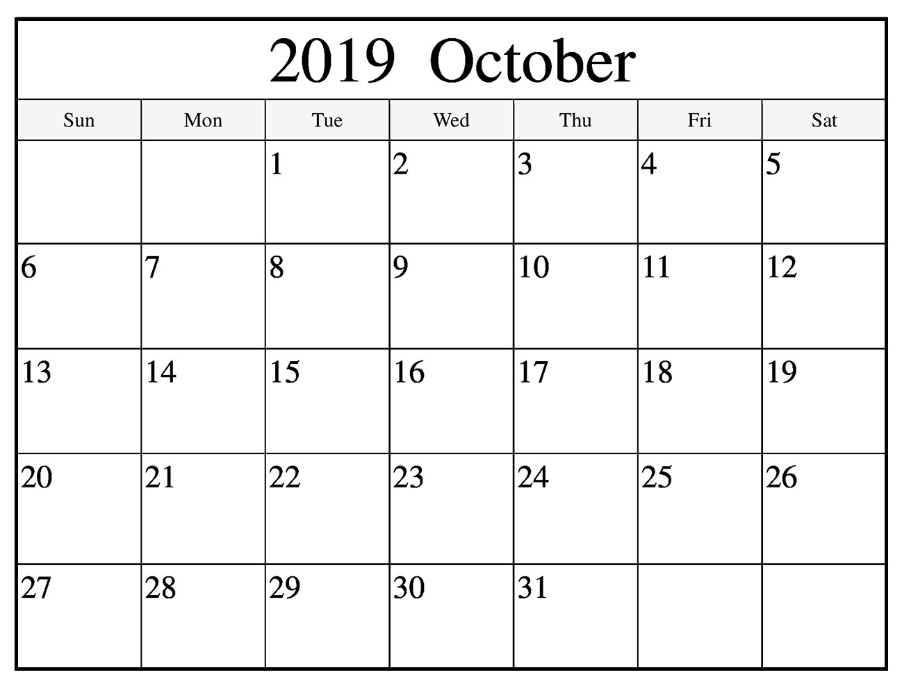October 2019 Printable Calendar Template with Notes