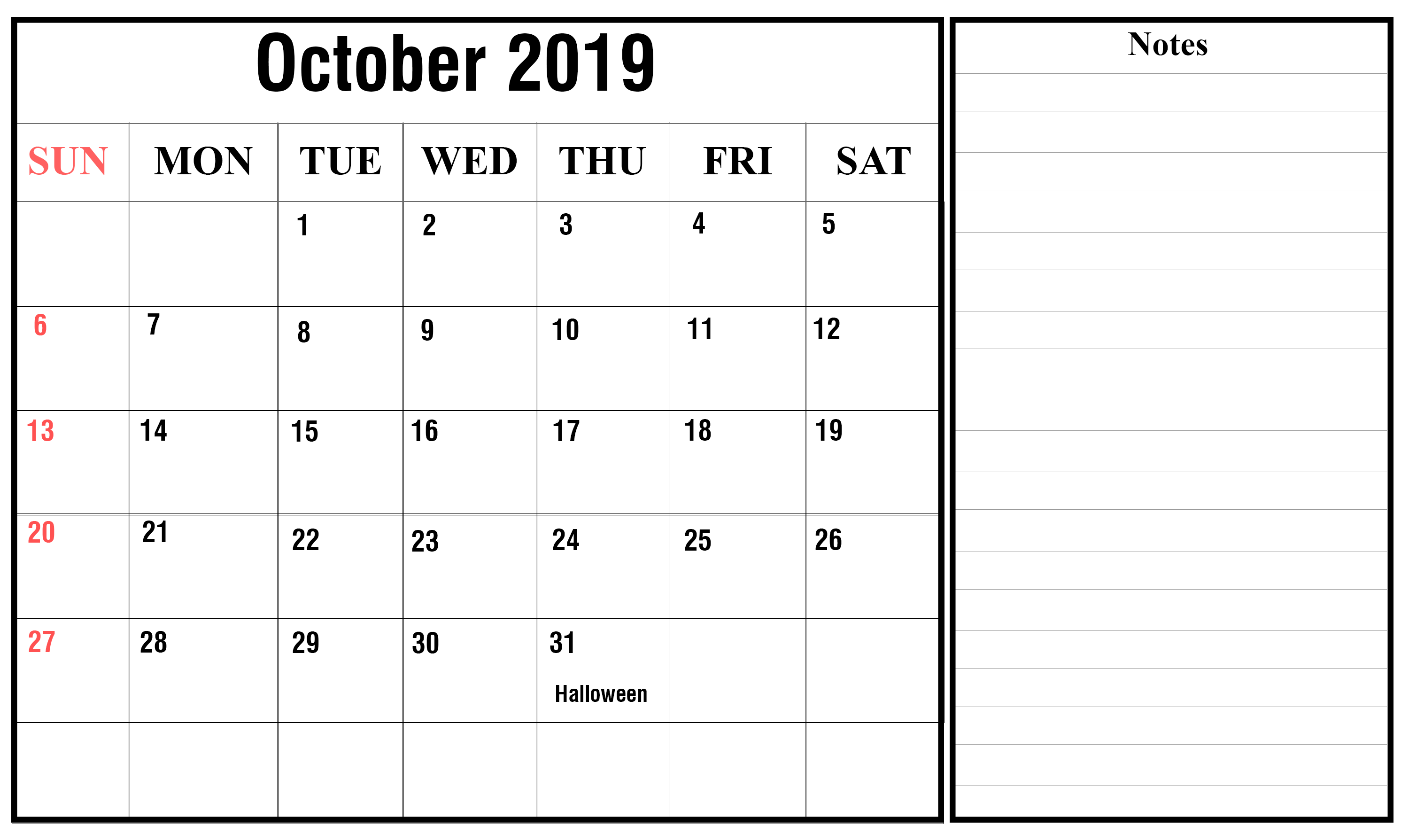 October 2019 Printable Calendar with Holidays