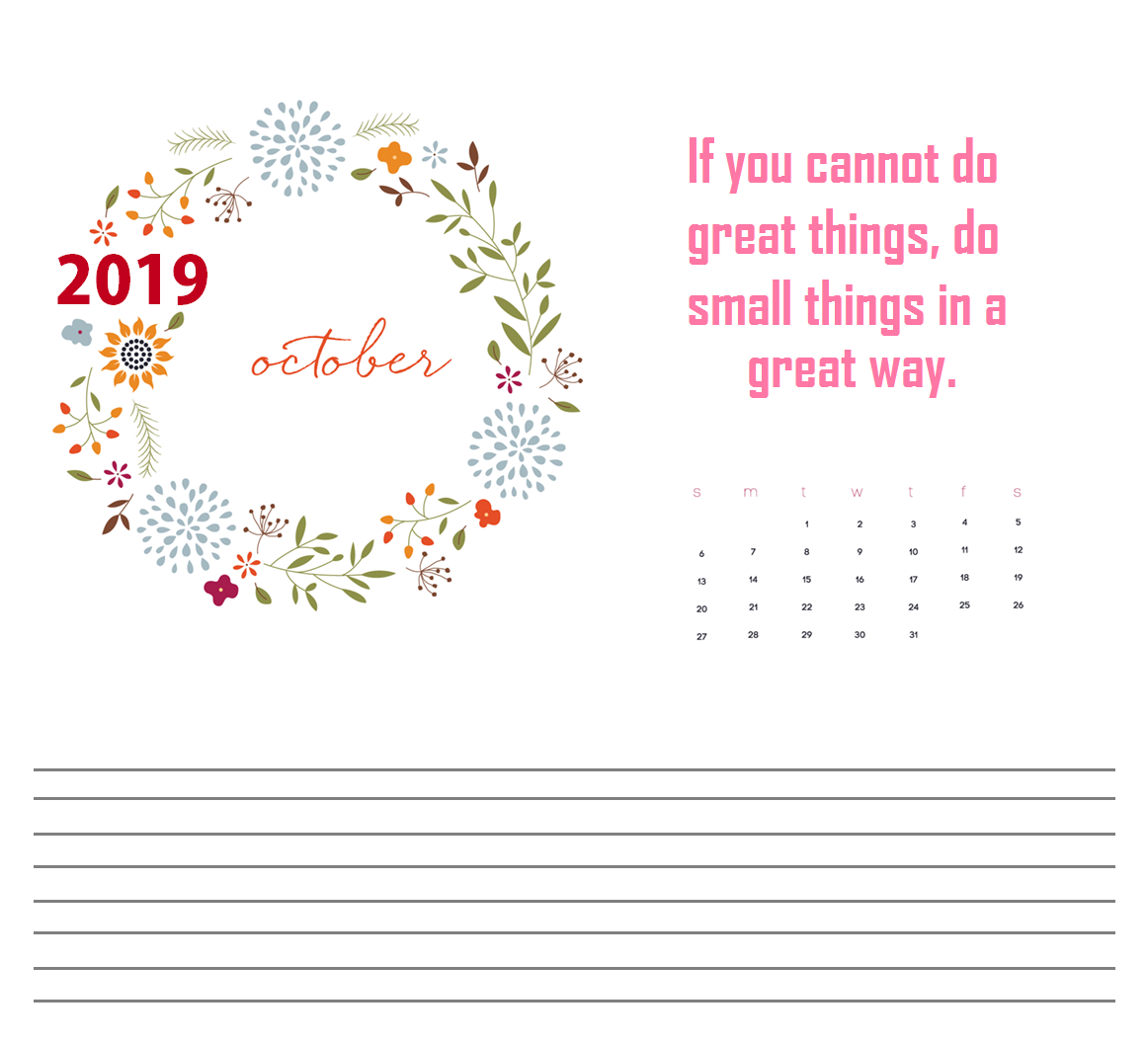 October 2019 Quotes Calendar For Desk