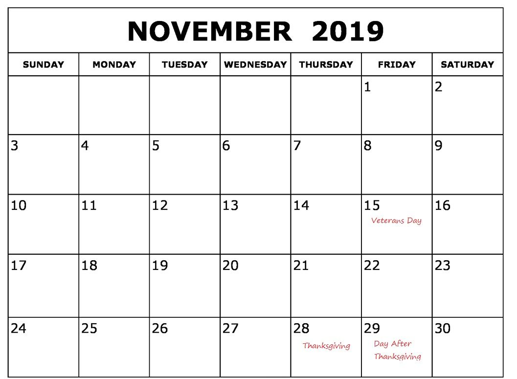 Printable November 2019 Holidays Calendar