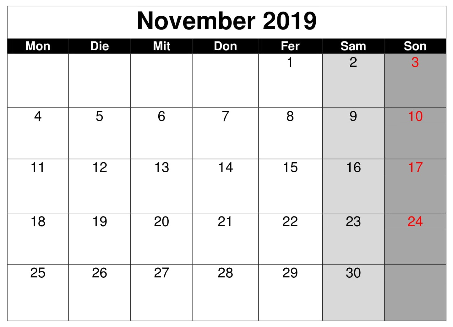 Kalender 2019 November Notizen