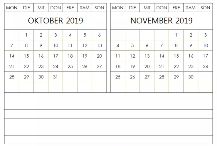 Notizen Kalender 2019 Oktober November