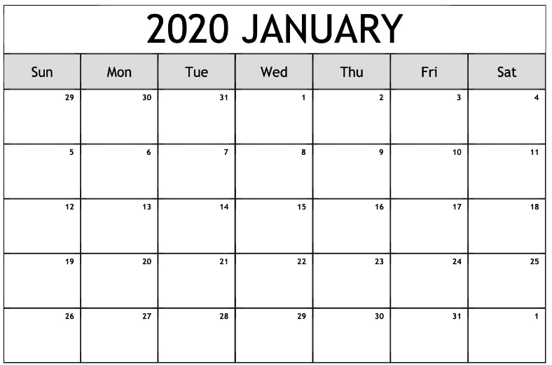 Blank January 2020 Calendar By Month