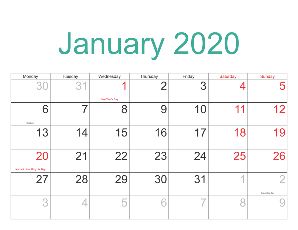 Calendar January 2020 With Holidays