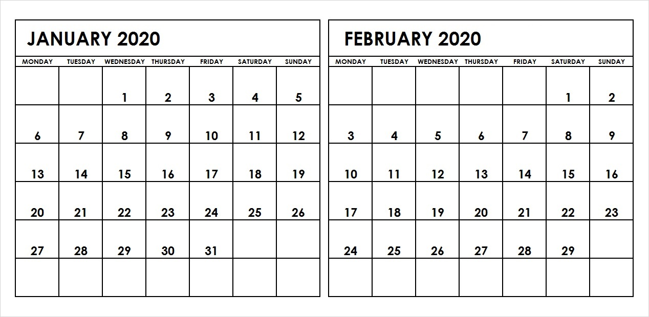 Calendar January February 2020 Two Month