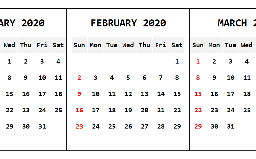 Calendar January February March 2020 Three Month