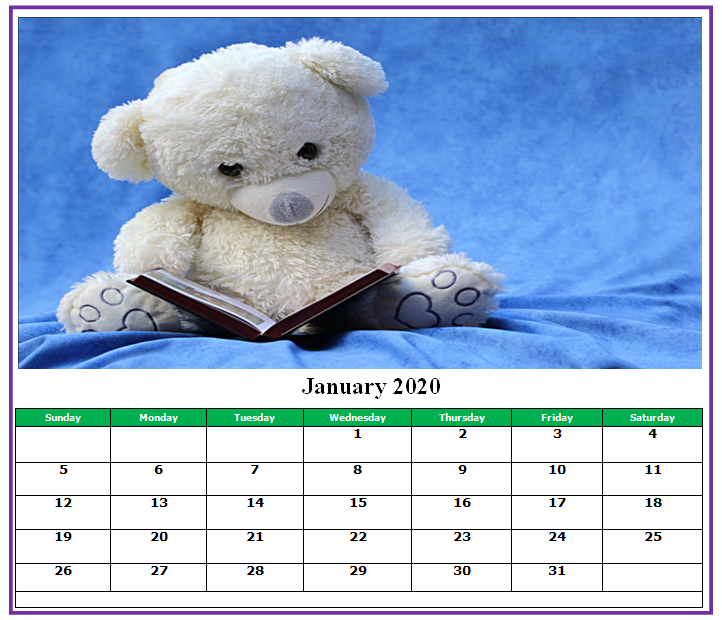 Cute January 2020 Calendar Printable