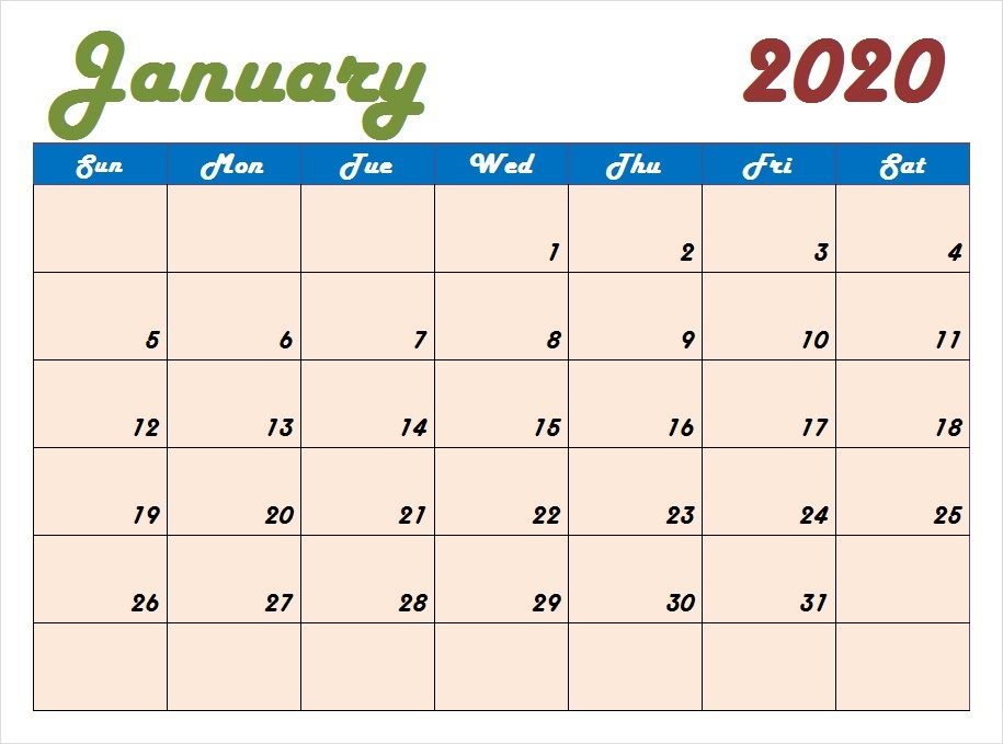 Cute January 2020 Calendar Wallpaper