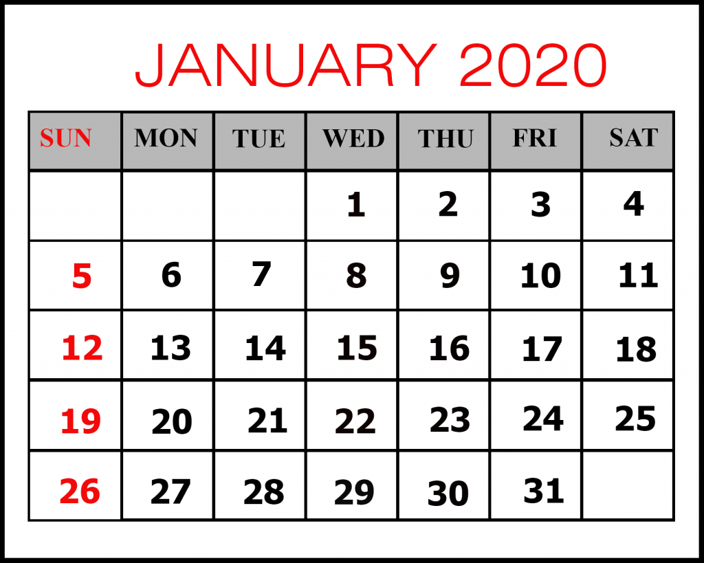 January 2020 Calendar Office Word