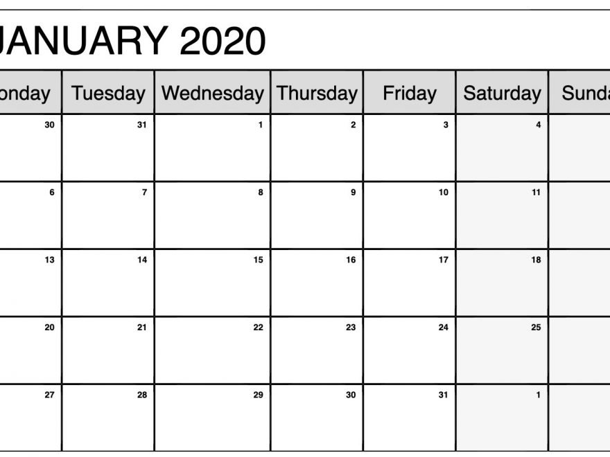 January 2020 Calendar Template Online