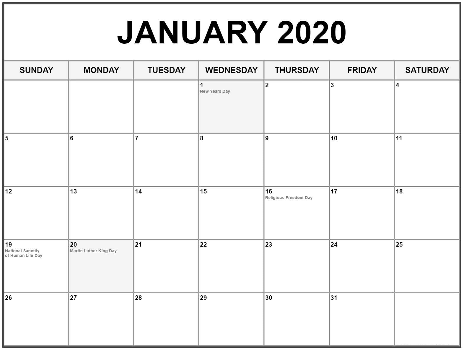 January 2020 Calendar With Holidays Bank National Public