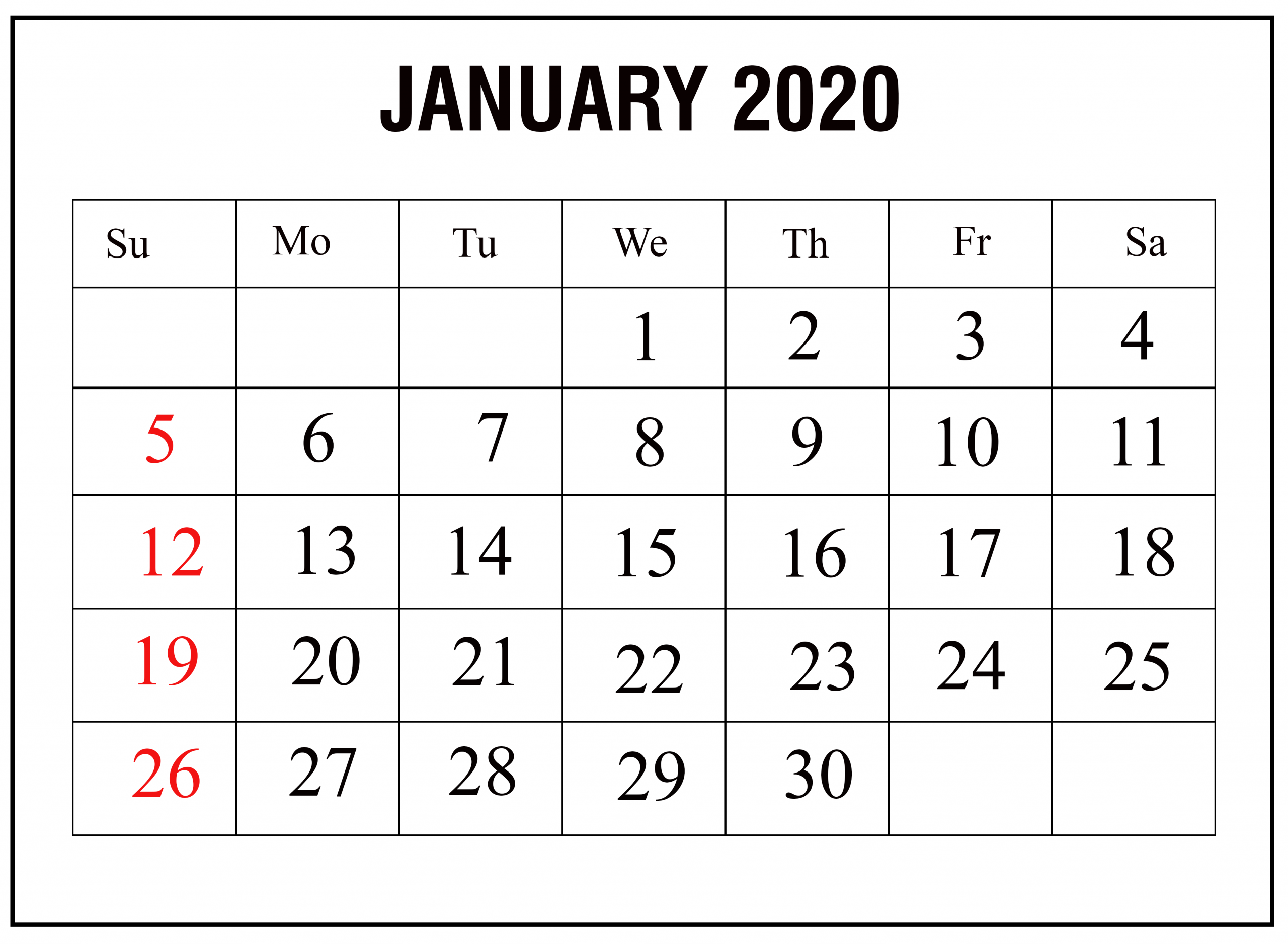 January 2020 Printable Calendar Free Template