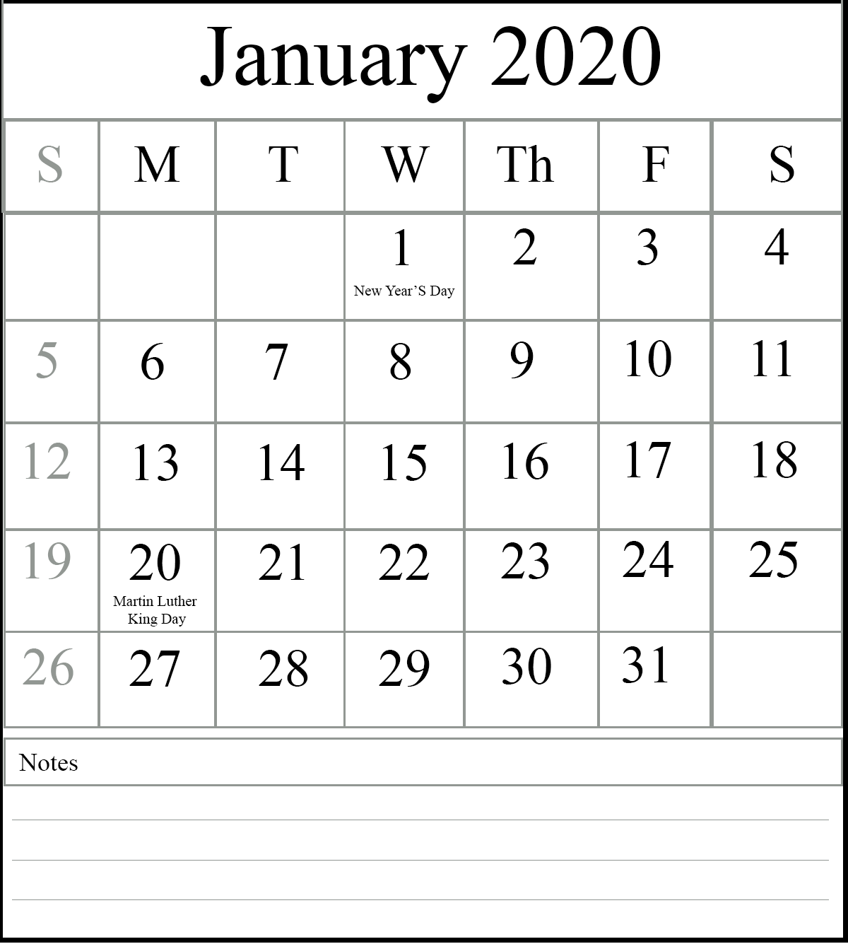 January 2020 Printable Calendar With Office Holidays