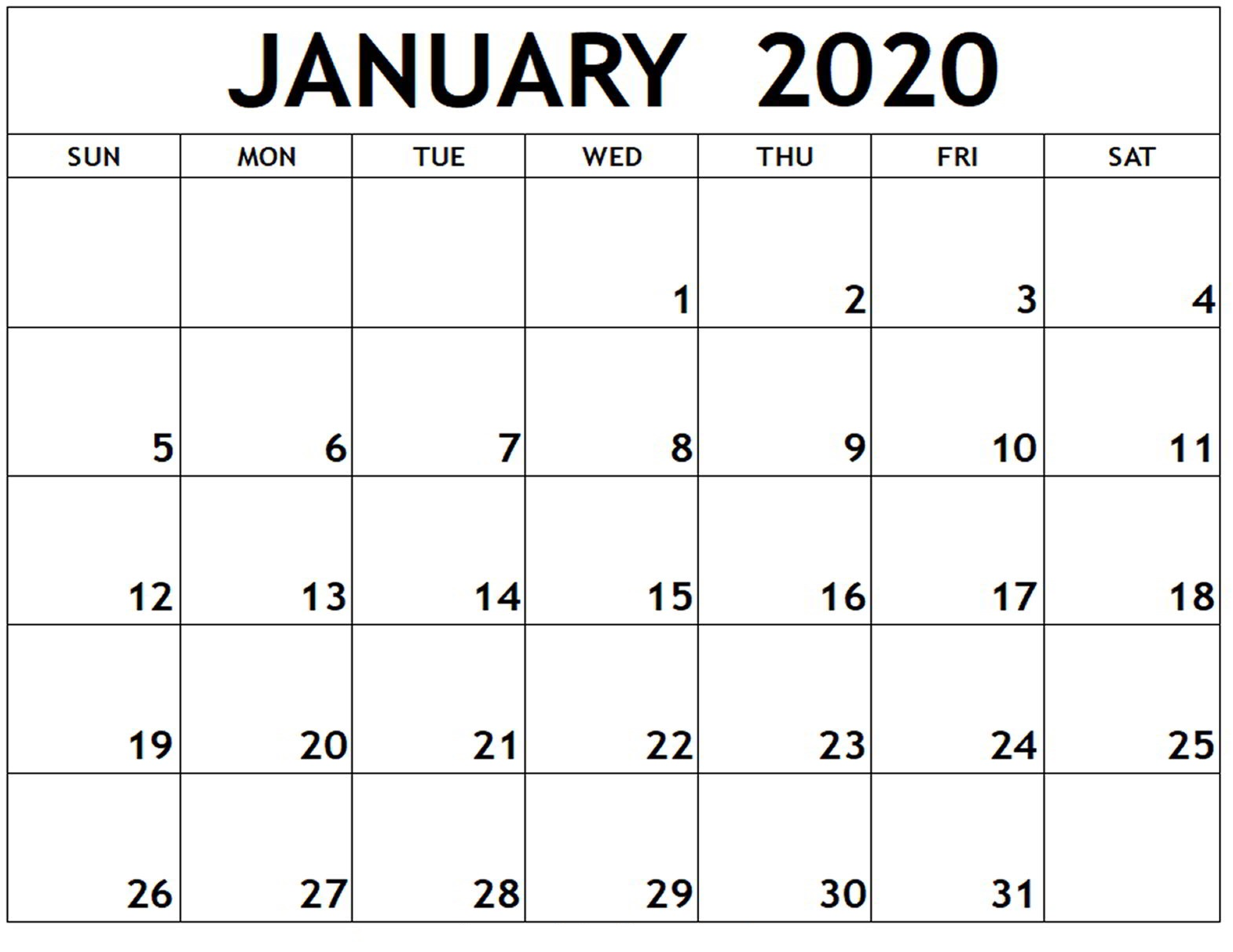 January Calendar 2020 In Word
