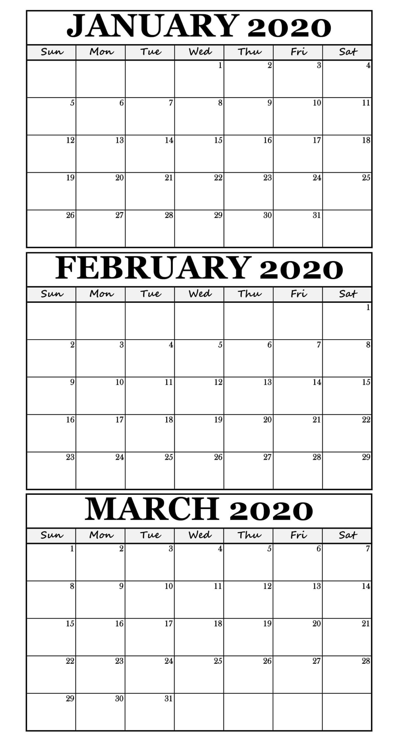 January February March 2020 Calendar For Three Month scaled