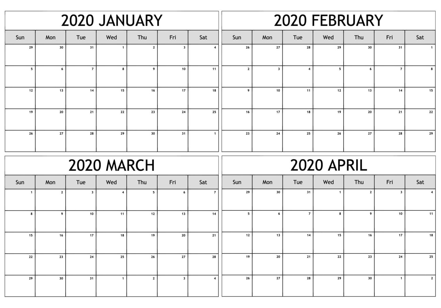 January February March April 2020 Calendar For Four Month