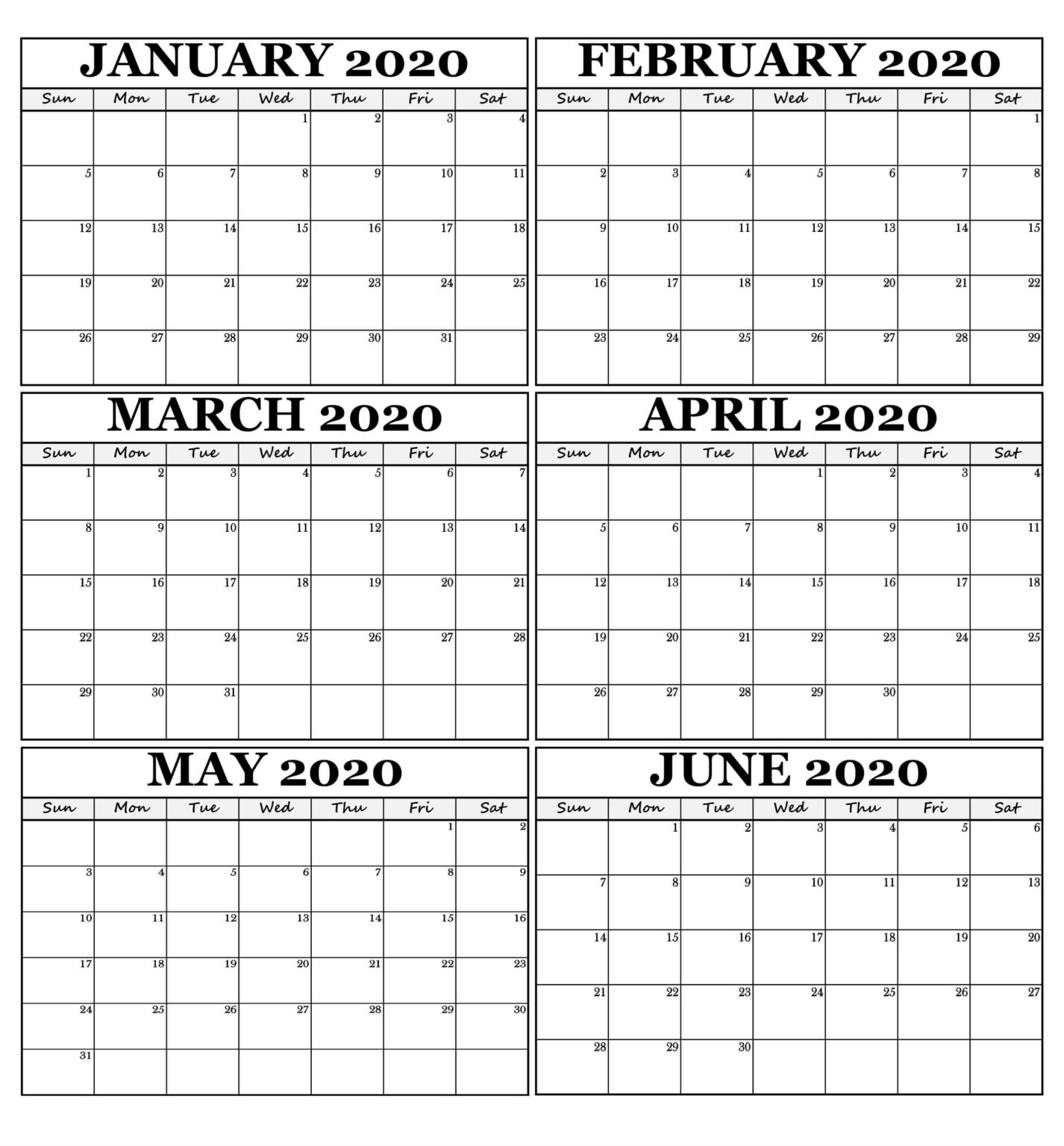 January February March April May June 2020 Calendar For Six Month