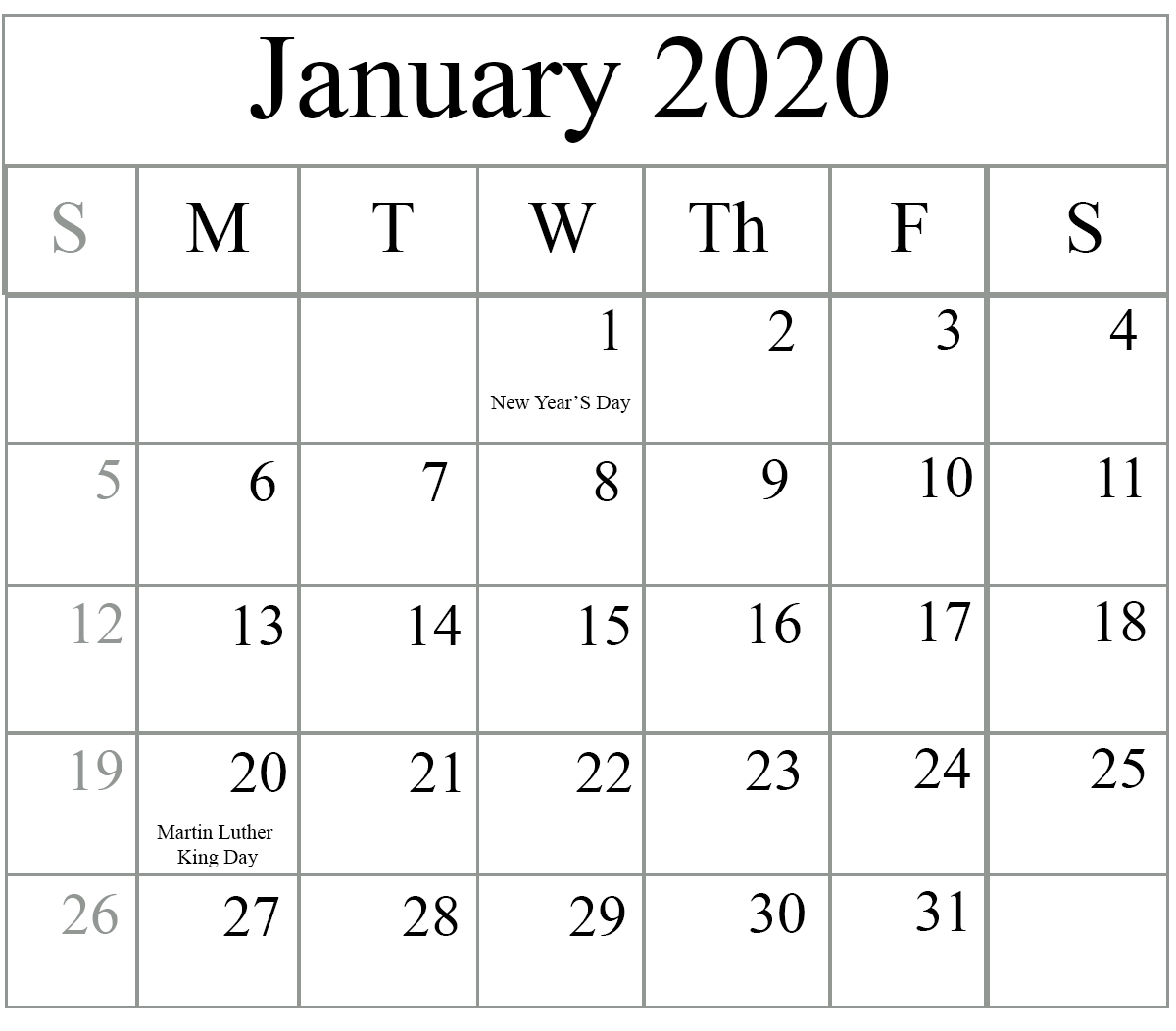 January Holidays Calendar 2020