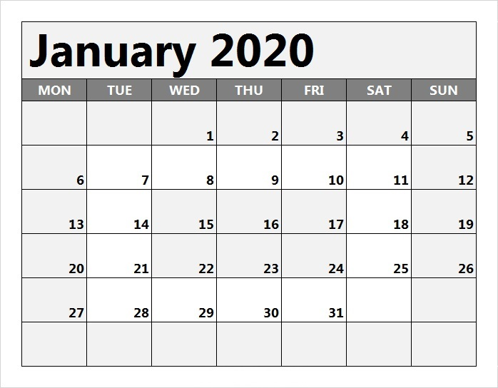 Monthly Calendar January 2020