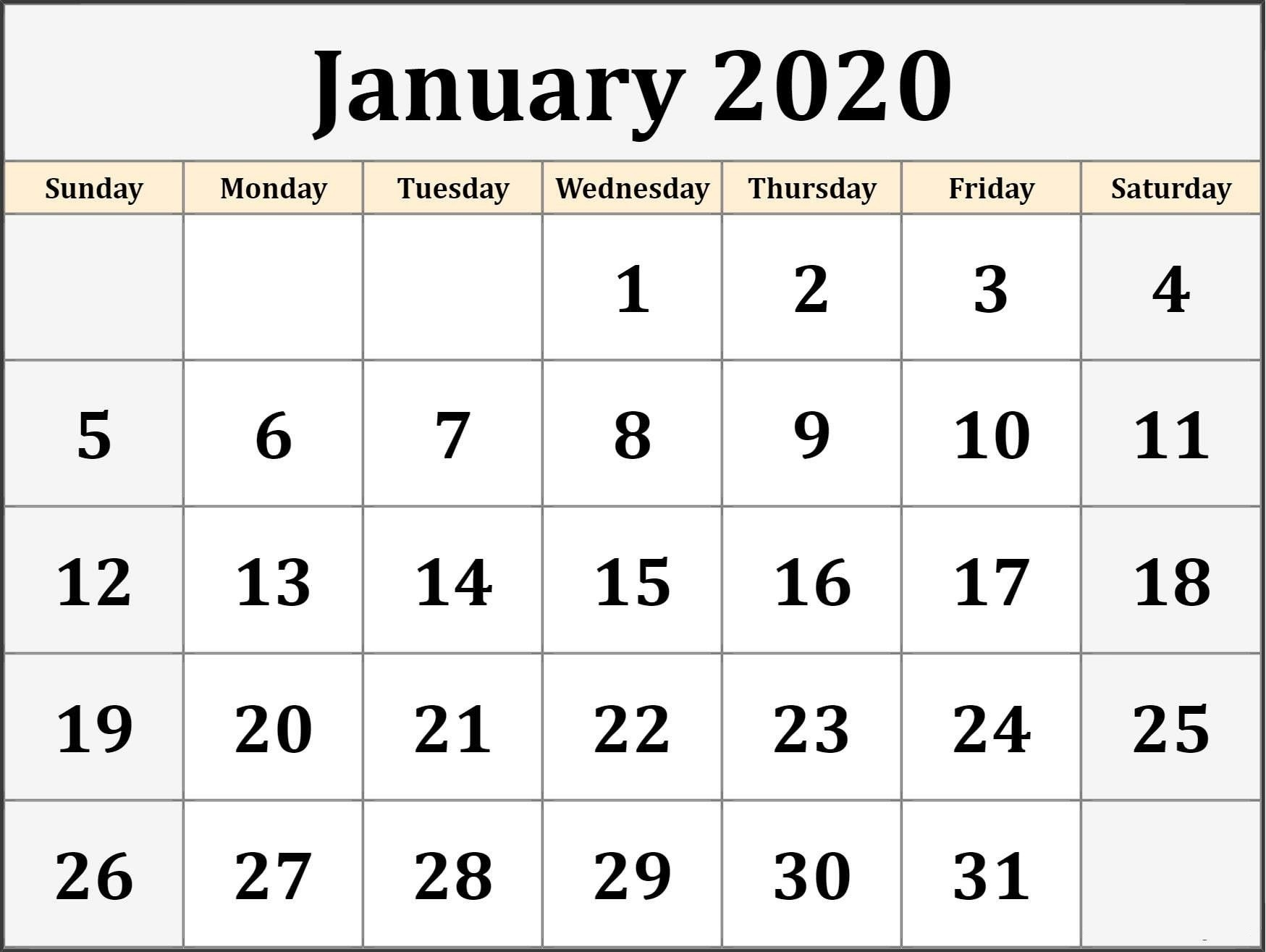 Monthly January 2020 Calendar Template