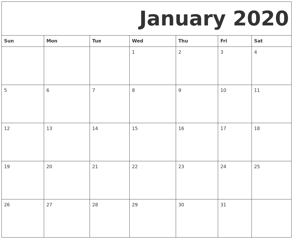 Monthly January 2020 Printable Calendar