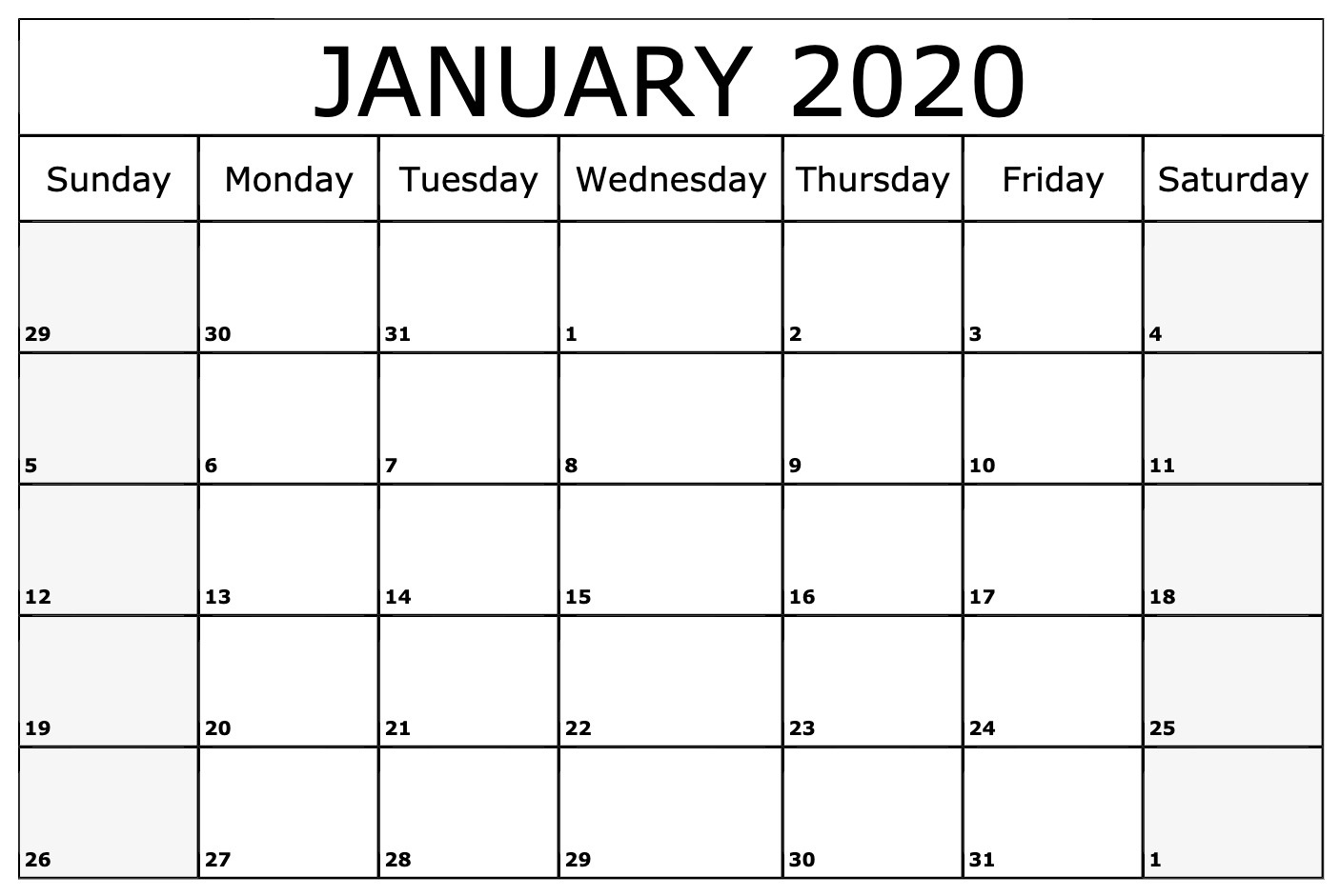 Monthly January Calendar 2020 Template
