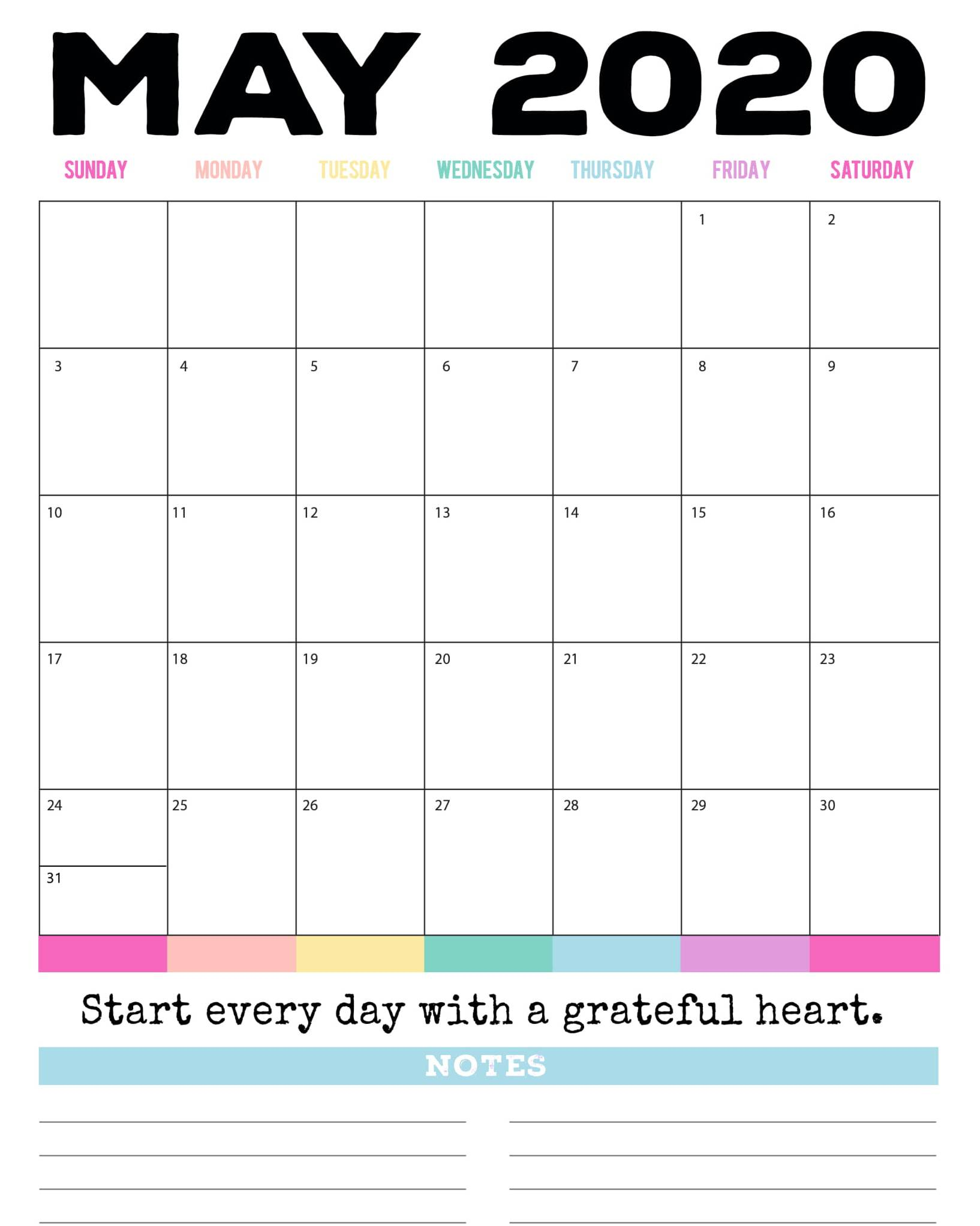 Blank May 2020 Calendar With Notes