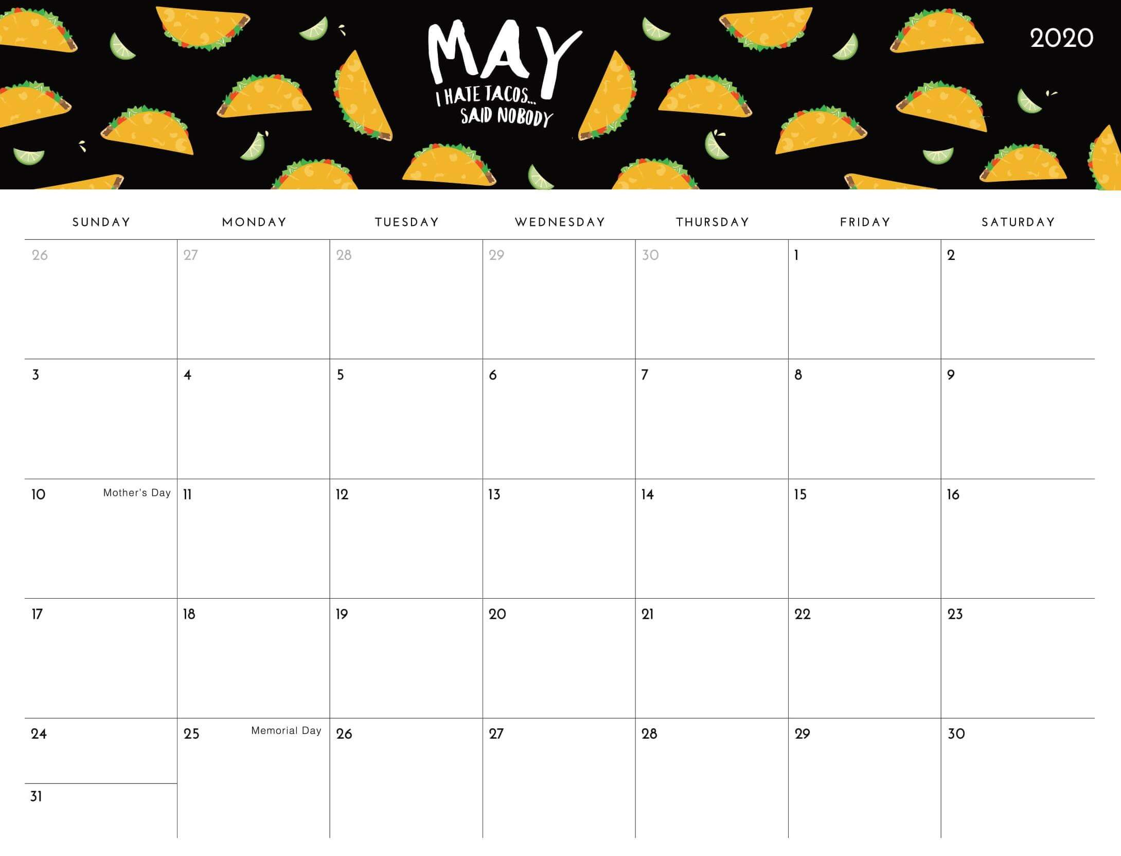 Blank May 2020 Calendar for Office