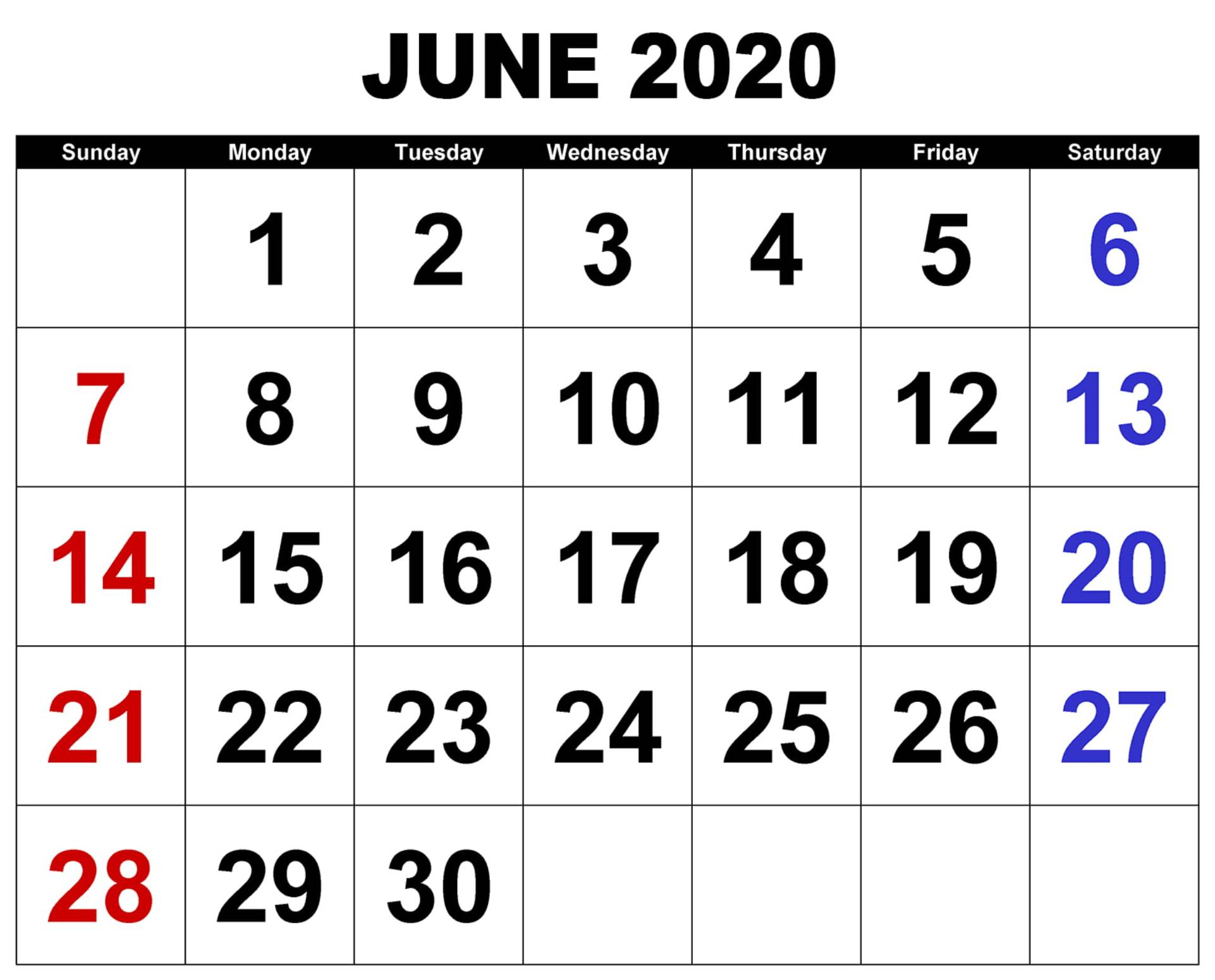 June 2020 Big Dates Calendar