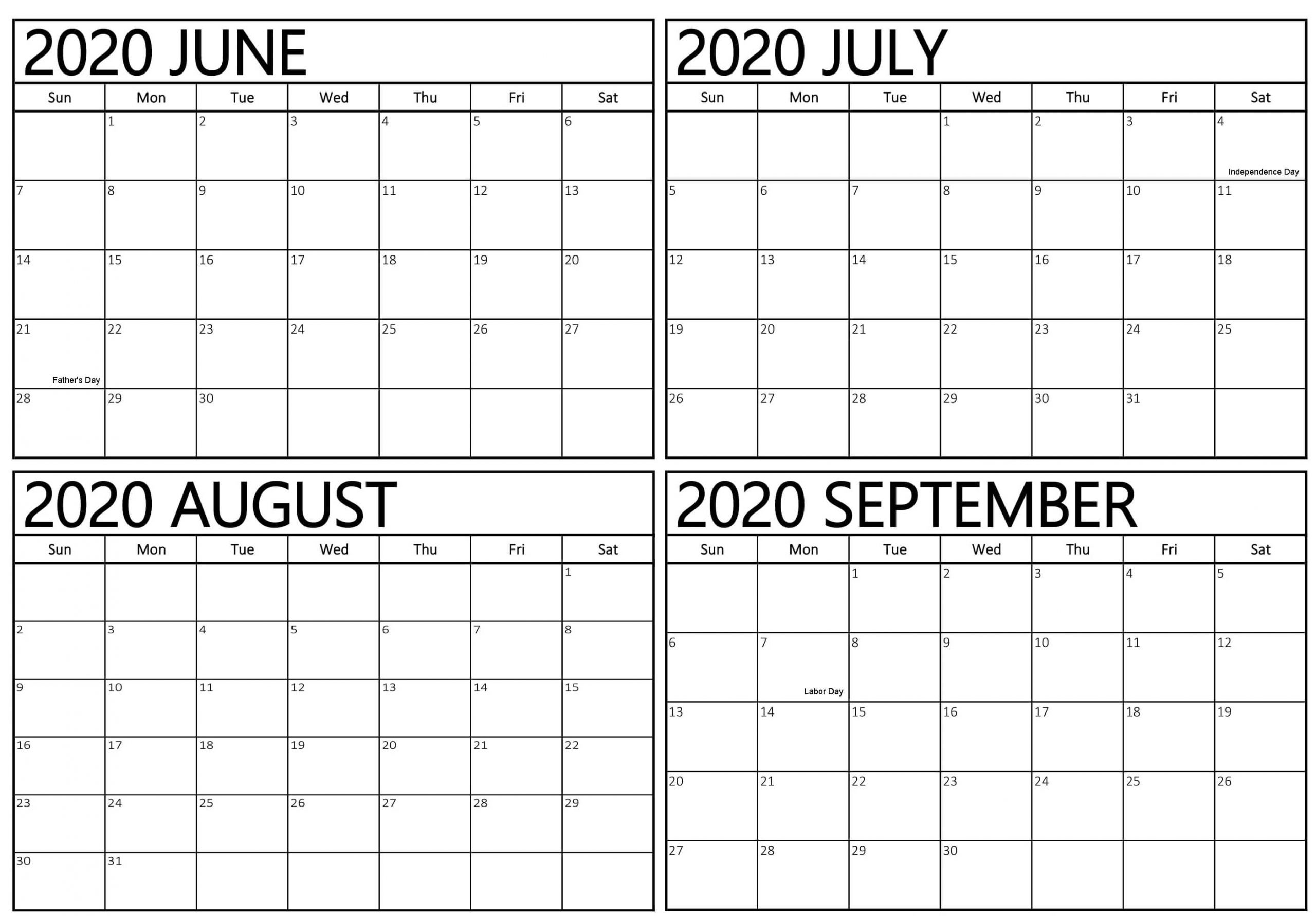 2020 June To September Calendar With Holidays