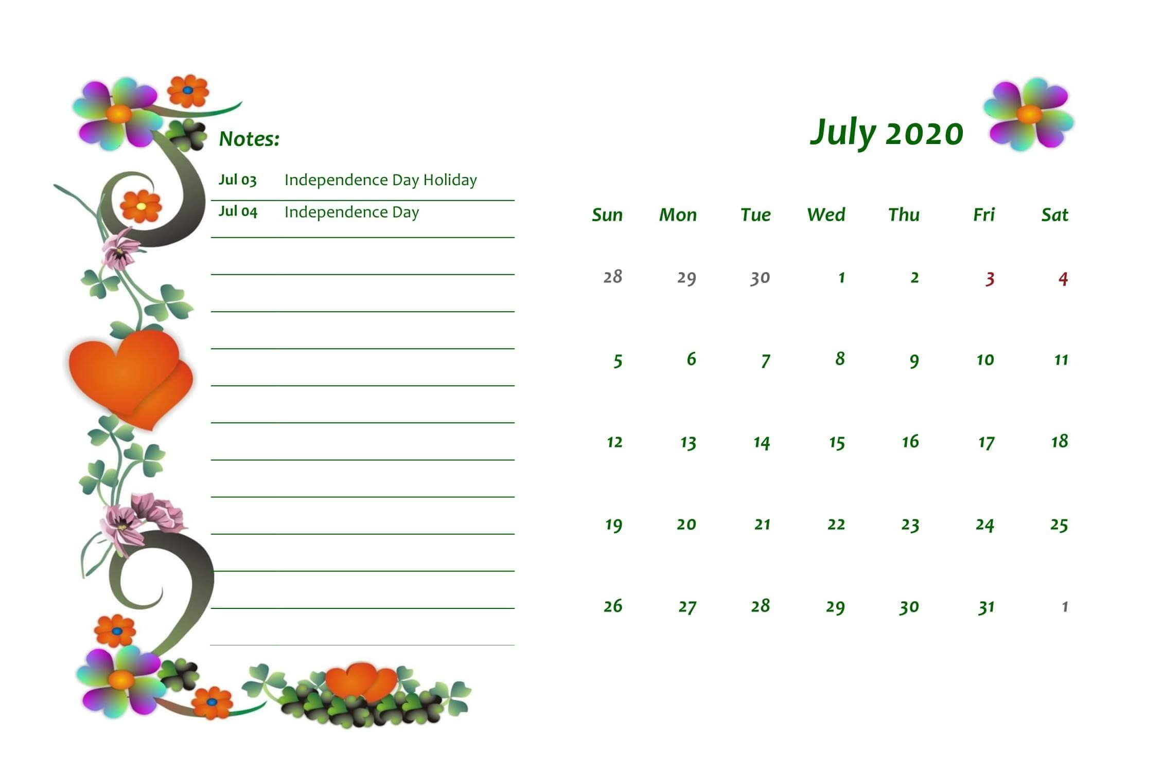 Holidays Calendar July 2020