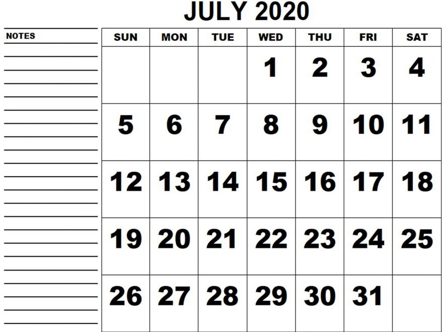 July 2020 Big Dates Calendar