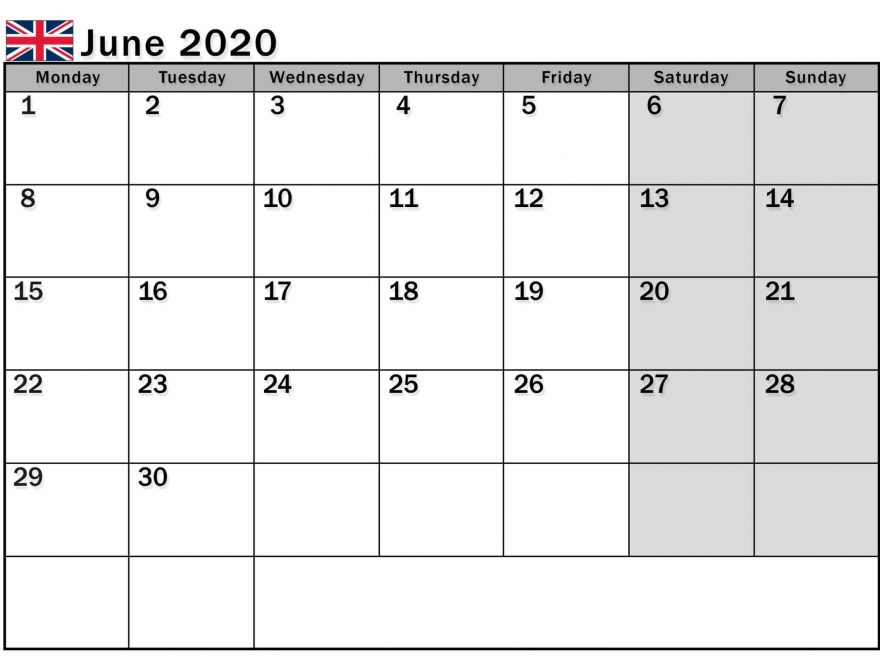 June 2020 Calendar UK National Holidays
