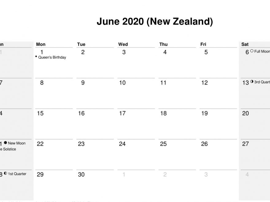 June 2020 Calendar with Holidays NZ