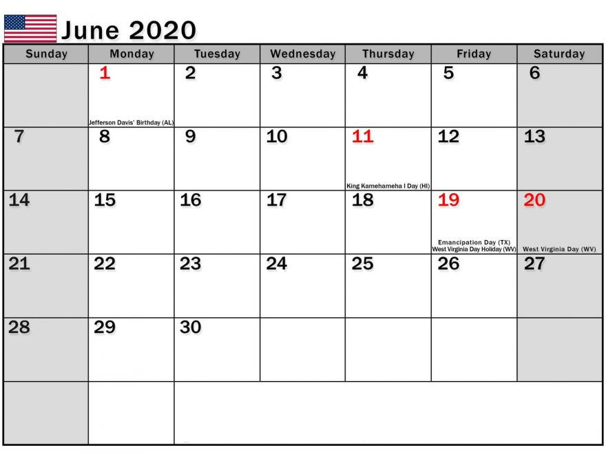 June 2020 US Calendar with Holidays